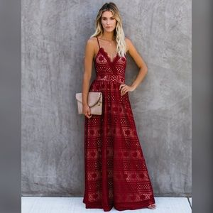 Gorgeous NWT's VICI Wine Lace Maxi Dress